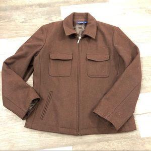 J.Crew Brown Wool Zip Up Bomber Jacket PS
